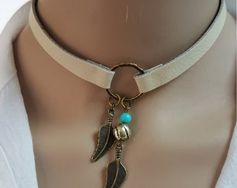 Choker Necklace, , Bohemian Feather Necklace, Native American Jewelry, Ring Choker, Leather Choker, Boho Jewelry,