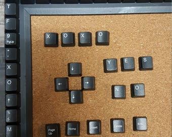 Corkboard- Black computer keyboard keys on frame - Father's Day Gift