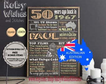 Personalised 50th Birthday 1967 Chalkboard Printable- Australian