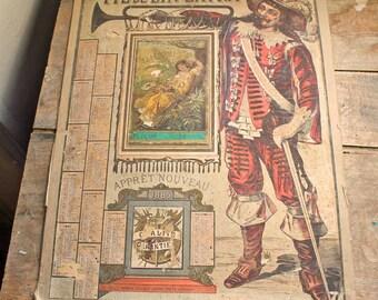 Antique year 1885 Original French advertising poster / board with calendar, linen thread company fil de lin extra  calendar year 1885
