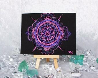 SALE! Pink Purple 4.5x6in Mandala Drawing, Doodle, Design, Pattern, Zentangle,