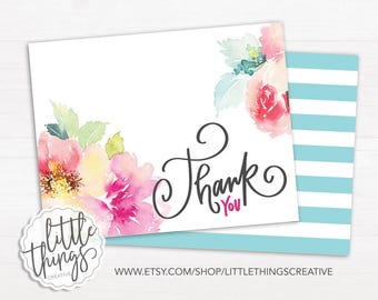 """Watercolor Floral Thank You Card and Digital Paper 4.25""""x5.5""""  // DIY // Instant Download // Printable File"""