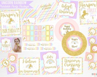 Unicorn Rainbow Birthday Party Printable Package YOU Print Pastel Pink Gold