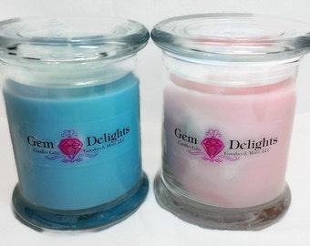 Gemstone Delights Custom Treasure Candle Soy Wax Genuine Loose Gems Hidden Inside!!