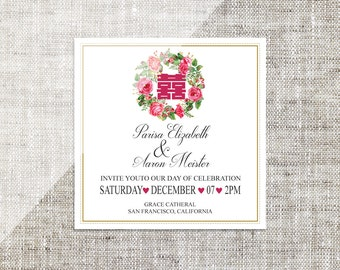 DIY Printable Editable Square Chinese Wedding Invitation Card RSVP Template Instant Download Water Color Flowers