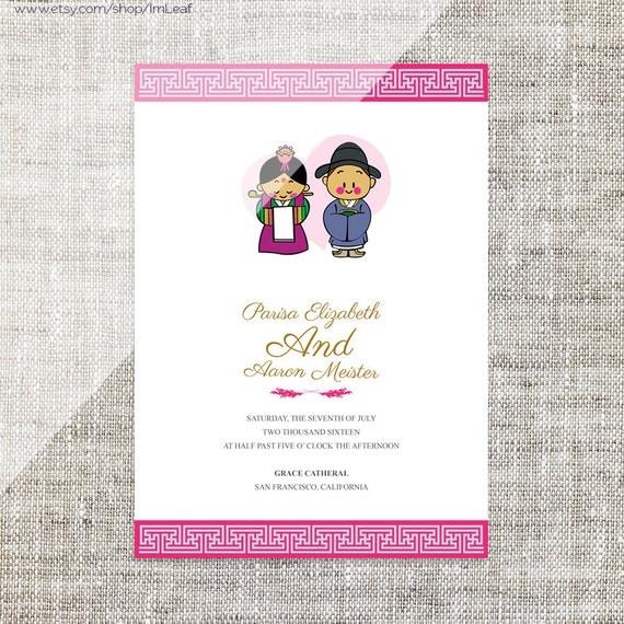 Diy printable editable korean wedding invitation card diy printable editable korean wedding invitation card template instant downloadrsvp cute bride and groom characterdouble happiness stopboris Images