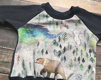 SALE: Organic Sweatshirt - Call of the Northern Wild, natural baby clothes, neutral baby outfit, woodland baby clothes, fox baby clothes, au