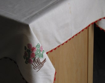 Vintage Square Cream and Red Tablecloth - approx 32 inches X 30 inches