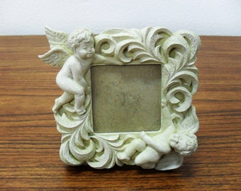 Vintage Gianna International Ivory/White 3D Angel Chrub Resin Picture Photo Frame