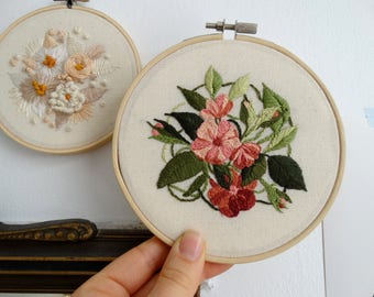 Wild Roses Hand stitched hoop art, hand embroidered flowers wall decor, handmade embroidery art, embroidery hoop wall art