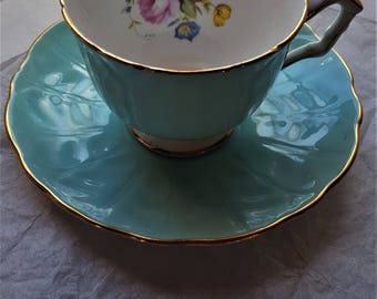 Blue Aynsley England Tea Cup and  Saucer Porcelain   Gift Do it yourself Birthday Bridal Brides Maids Tea Party Excellent Condition