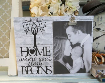 "Wood Picture Frame, ""Home Where Your Story Begins"", Family Picture Frame, 8 x 10 Picture Frame, Family Photo Frame"