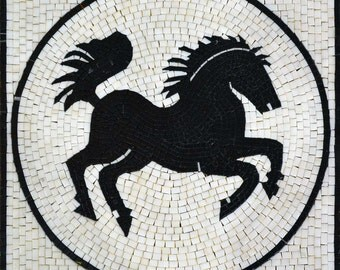 Black Horse Inside a Medallion Marble mosaic