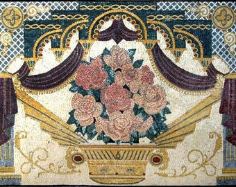 The Gold Pot Of Roses Mosaic