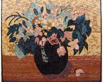 Pink Carnations Impressionistic Mosaic Art