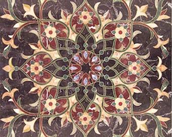 Floral Geometric Square Tile - Arabesque