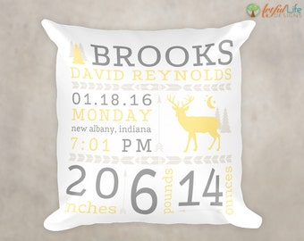 BIRTH ANNOUNCEMENT PILLOW, Woodlands Nursery Decor, Birth Stats Pillow, Rustic Nursery Decor, New Baby Gift, Personalized Nursery Pillow