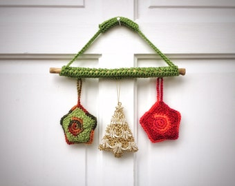 Natural Pine Wreath Crochet Christmas Stars Unique Handmade Wall Art Eco Friendly Home Decor