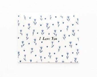 Blue Tulips I Love You Card, I Love You Card