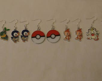 Free Shipping Pokemon Earrings, Squirtle Earrings, Piplip Earrings, Pokeball Earrings, Chimchar Earrings, Meowth Earrings