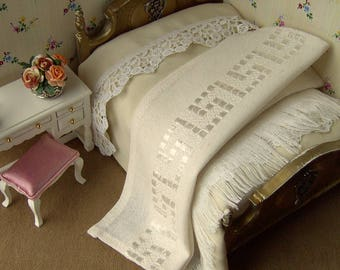 A dollhouse bed cover plus a blanket for a dollhouse double bed. 1/12. Antique Ivory/cream silk. Wool and linen. Dollhouse bedding.