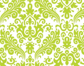 "Riley Blake ""Hollywood"" Large Damask Lime Green Fabric"