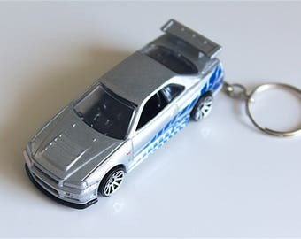 Nissan Skyline GT-R 34 - Fast and Furious Hot Wheels Die cast on Key Chain