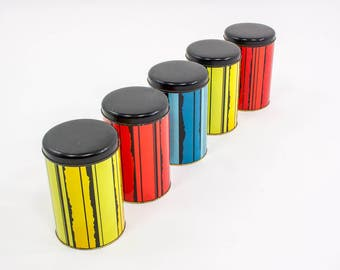 Vintage Tomado canisters, Mid Century Modern tins, sixties design Brabantia, set of 5