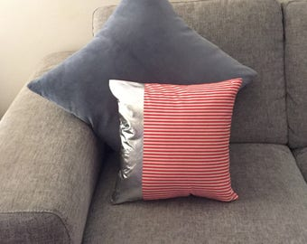 BOARDER Silver Foil - Red and White Stripe Cushion