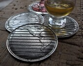 World Atlas Pewter Coasters- Set of Four