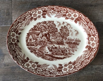 Vintage Brown Transferware Platter - Broadhurst Constable Series, ironstone platter, staffordshire china platter, made in england