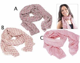 Cotton Scarf Spring Summer Pink Foulard