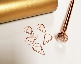 Rose Gold Paper Clips, Set of 5 Paperclips