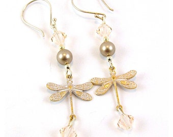 Frosted White Sterling Silver Dragonfly Earrings