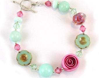 Pink & Mint handmade Glass and Clay Sterling Silver Bracelet