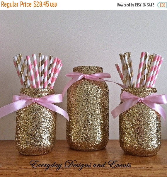 On sale pink and gold mason jar set party by