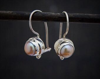 Pearl Earrings, Pearl Drops, Silver Drop Earrings, Pearl and Silver, Freshwater Pearl, Light Pink Pearl, Sterling Silver