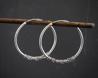 Silver Hoops, Hoop Earrings, Bali Hoops, Boho Hoops, Ethnic, Tribal, Sterling Silver, 925