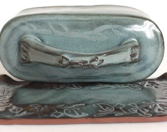 Blue covered butter dish, blue handmade ceramic butter dish