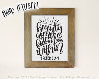 Beauty Comes From Within Printable, Bible Verse Printable, Empowering Print, 1 Peter 3:3-4 Print, Empowering Women Wall Decor, DIY Print