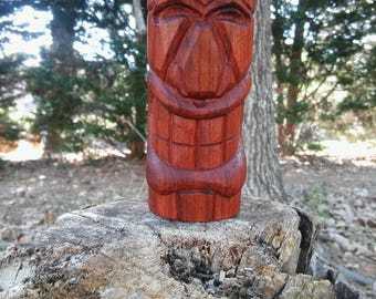 Handmade Tribal Tiki Head Redheart Wood Carving