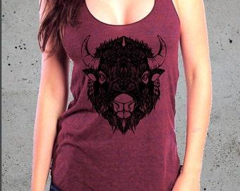 Womens BUFFALO BISON Head Shirt)Bohemian Clothing,Native American Apparel,Girlfriend Gift-Womens Graphic Tees-Birthday Gift Gifts,instagram