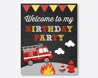 Instant Download, Fire Truck Welcome Sign, Firetruck Birthday Sign, Fire Truck Door Sign, Fireman Party Printable Sign, Chalkboard (CKB.521)