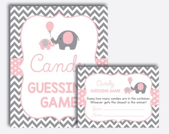Instant Download, Elephant Baby Shower Candy Guessing Game, Guess How Many Candies, M&M Game, Elephant Baby Shower Games, Pink, Girl(SBS.36)
