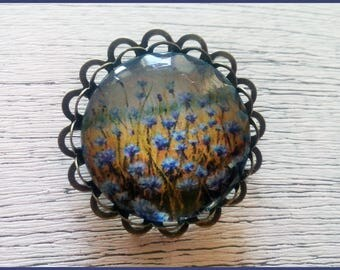 Brooch Blue flowers in the field, Round glass cabochon brooch, Bronze brooch, Bronze gift for women