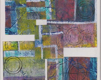 Part Two : Created from one abstract painting cut and collaged into two
