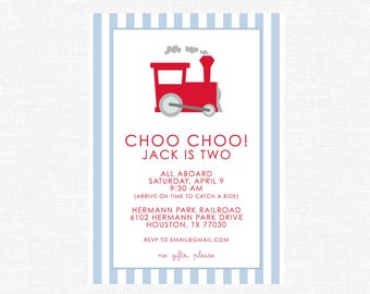Choo Choo All Aboard! Simple red and blue train Birthday Party Invitations, stripes-FREE SHIPPING or DIY printable