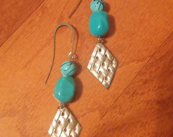 Teal Stone Silver Look Diamond Earrings, Teal Earrings, Teal Jewelry