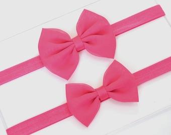 Hot Pink Baby Headband Bows - Hot Pink Hair Bow - Hot Pink Headband - Chiffon Hair Bow - Baby Headband - Fabric Hair Bow