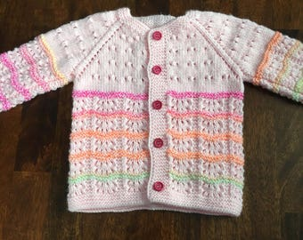 Hand Knit Baby Sweater/Cardigan in Pink